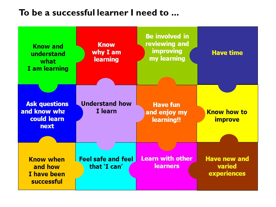 To be a successful learner I need to ...