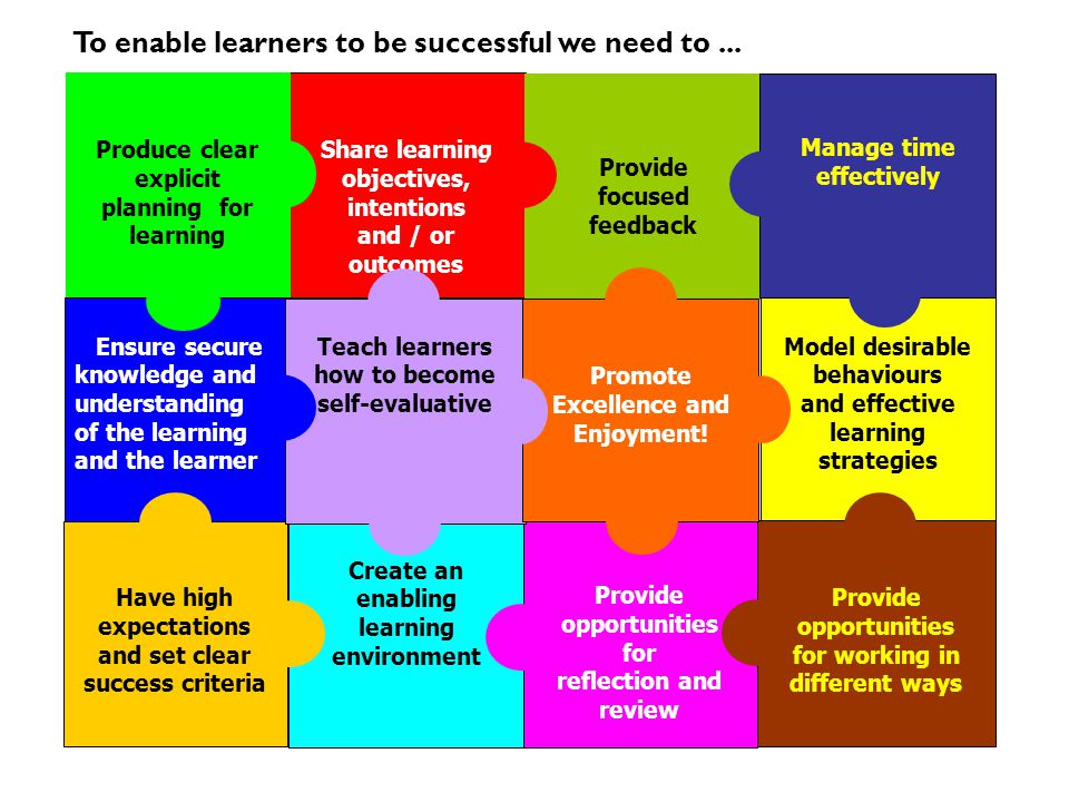 To enable learners to be successful we need to ...