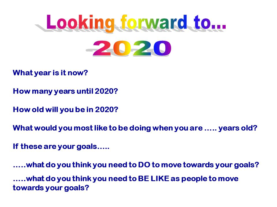 Looking forward to... 2020 What year is it now