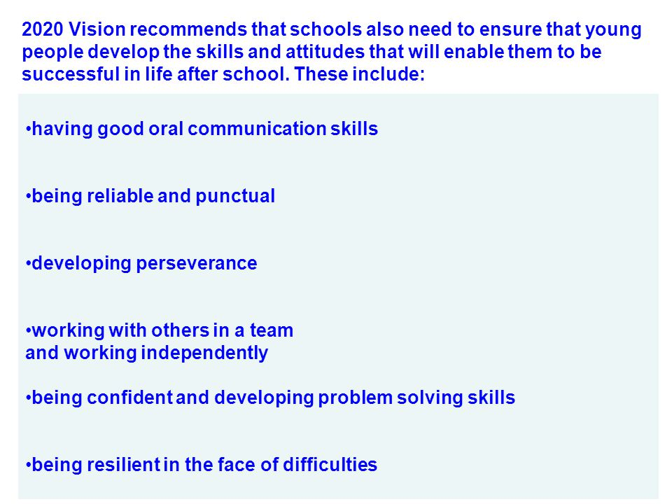 2020 Vision recommends that schools also need to ensure that young people develop the skills and attitudes that will enable them to be successful in life after school. These include:
