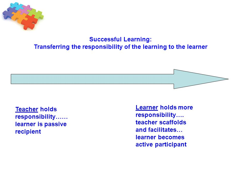 Transferring the responsibility of the learning to the learner