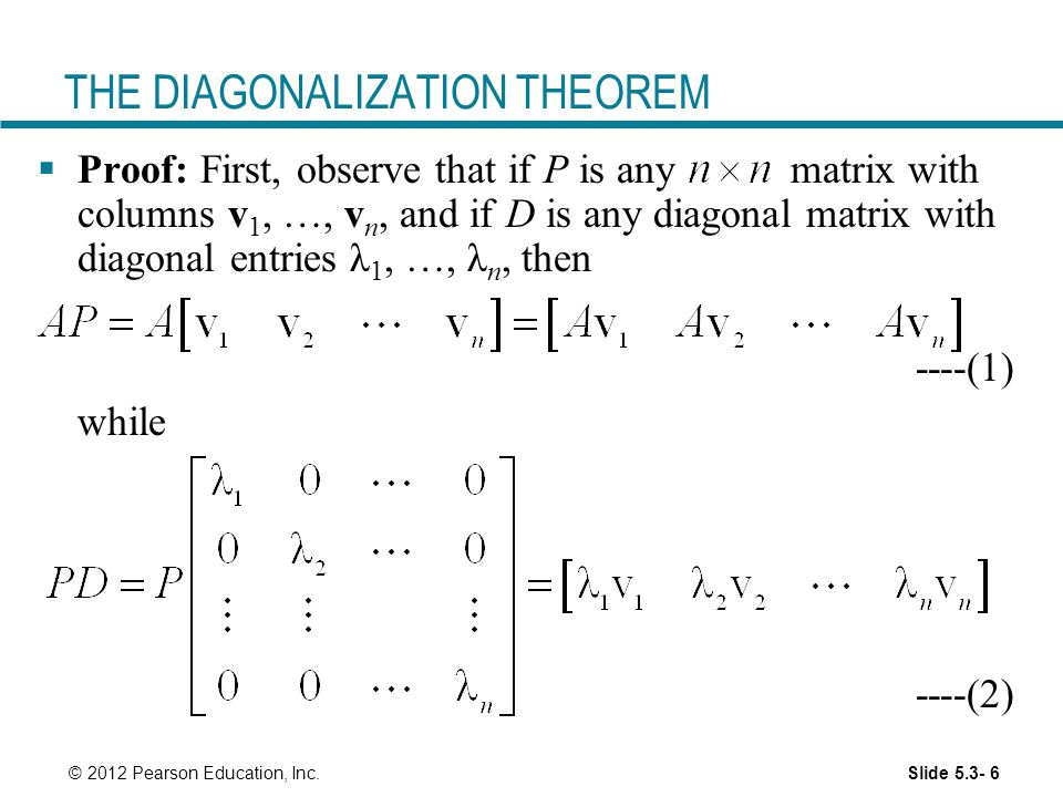 THE DIAGONALIZATION THEOREM