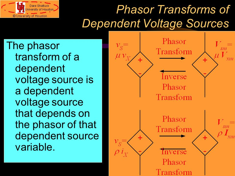 Phasor Transforms of Dependent Voltage Sources