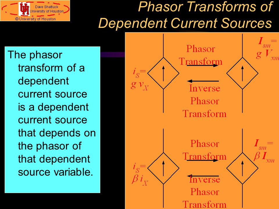 Phasor Transforms of Dependent Current Sources
