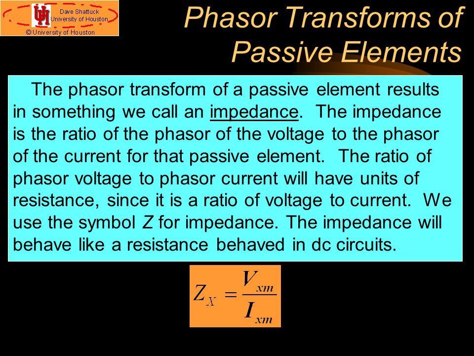 Phasor Transforms of Passive Elements