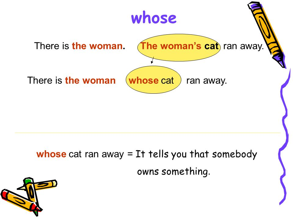 whose There is the woman. The woman's cat ran away. There is the woman