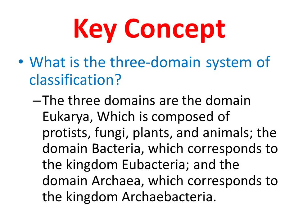 Key Concept What is the three-domain system of classification