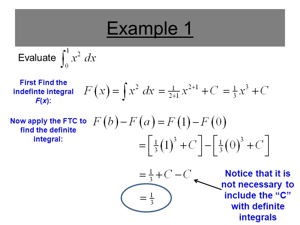 Example 1 Evaluate. First Find the indefinte integral F(x): Now apply the FTC to find the definite integral: