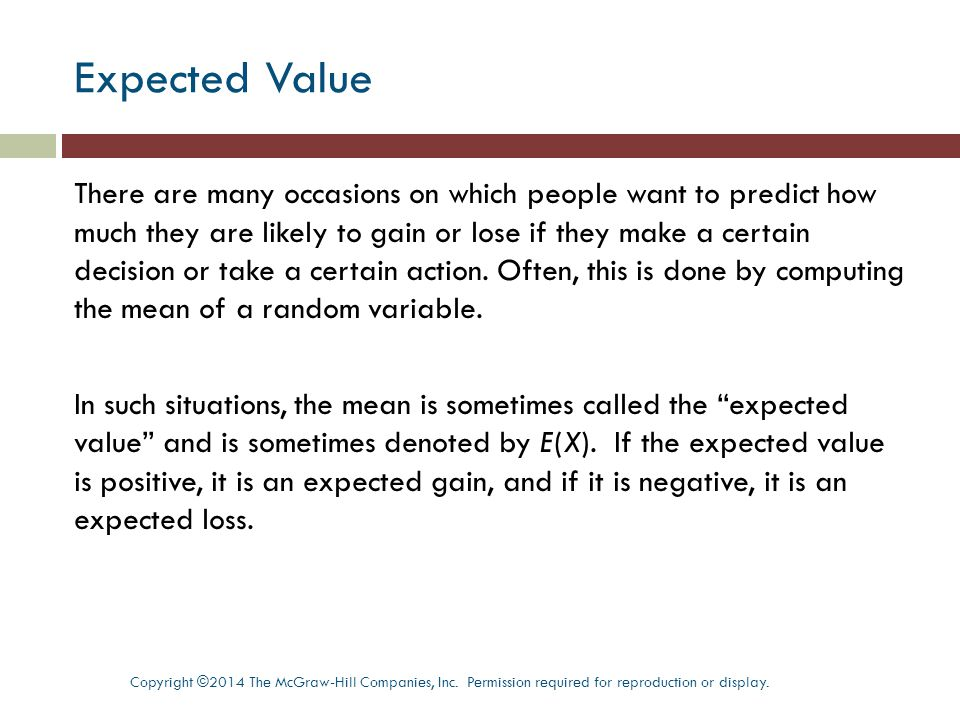how to find the expected value of x