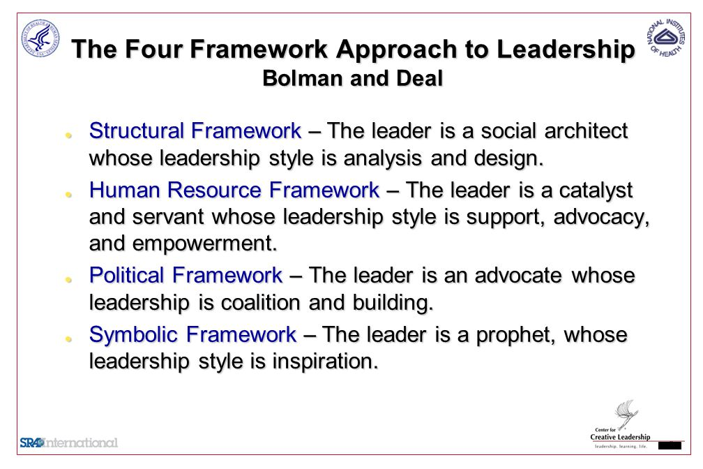 the four-frame approach applied to change management Course overview module 1 overview  reframing organizations—an integrated approach change and leadership in action  discussion—the four-frame approach.
