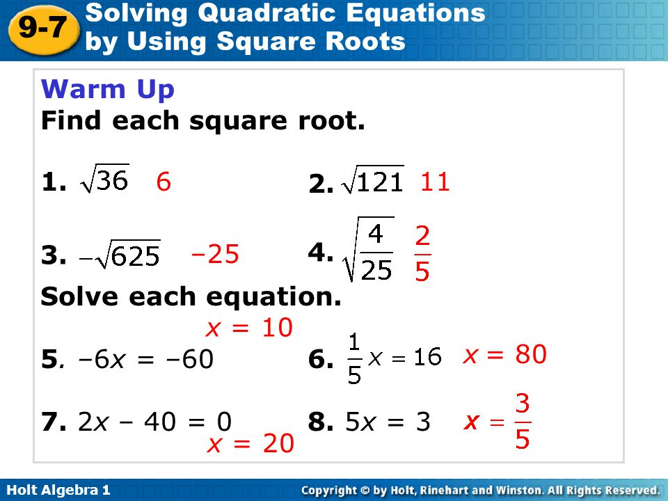 solving quadratic equations by using square roots ppt video online download. Black Bedroom Furniture Sets. Home Design Ideas
