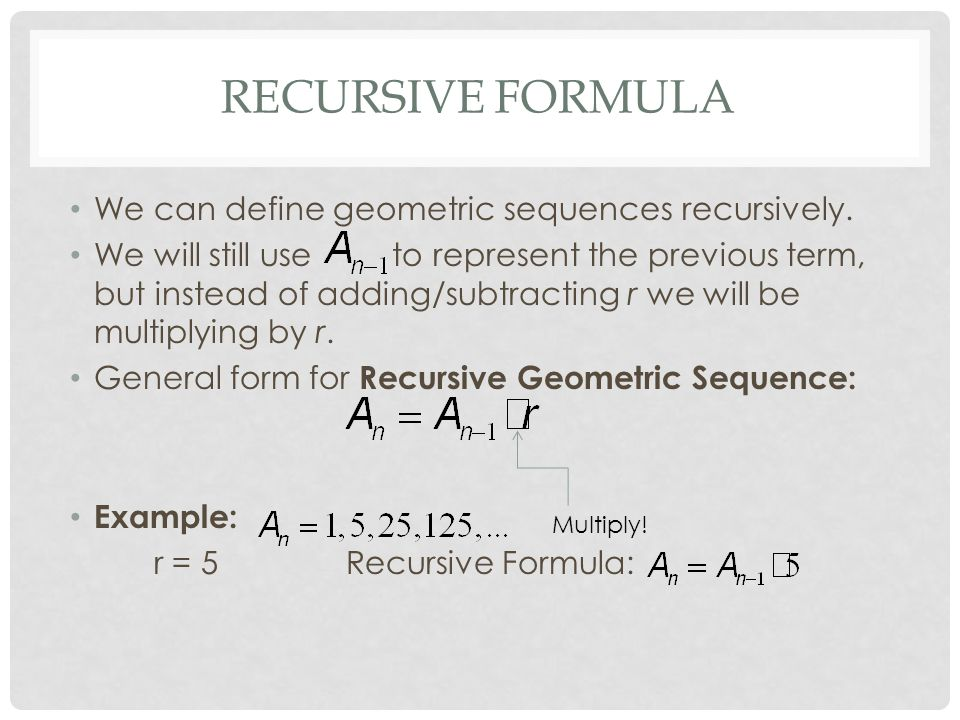 Explicit & recursive formulas for geometric sequences
