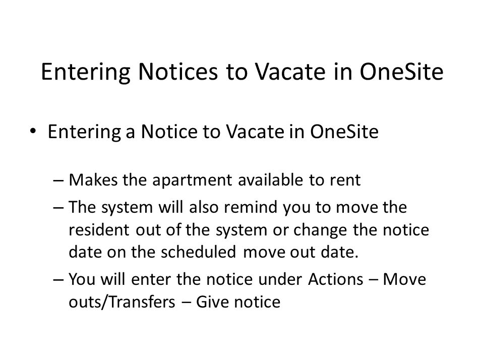 Entering Notices to Vacate in OneSite
