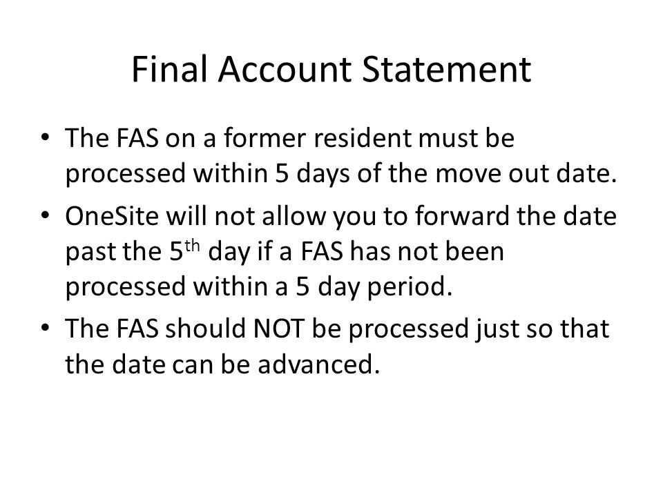 Final Account Statement