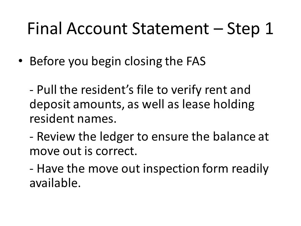 Final Account Statement – Step 1