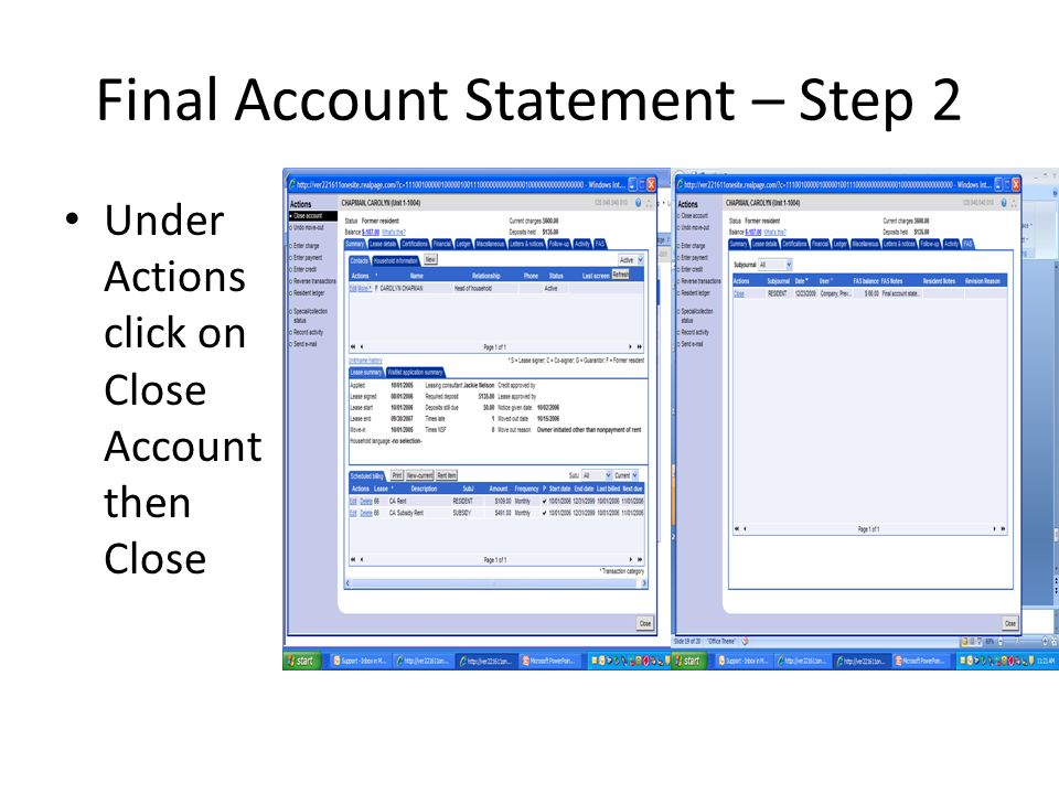 Final Account Statement – Step 2