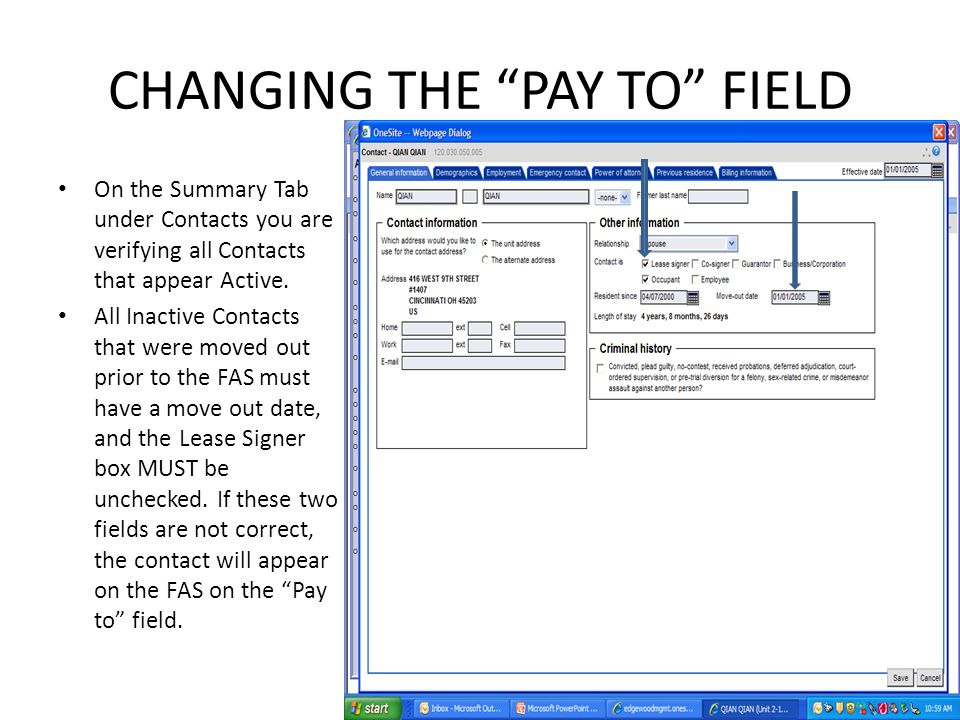 CHANGING THE PAY TO FIELD