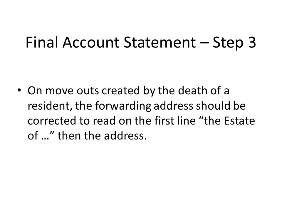 Final Account Statement – Step 3
