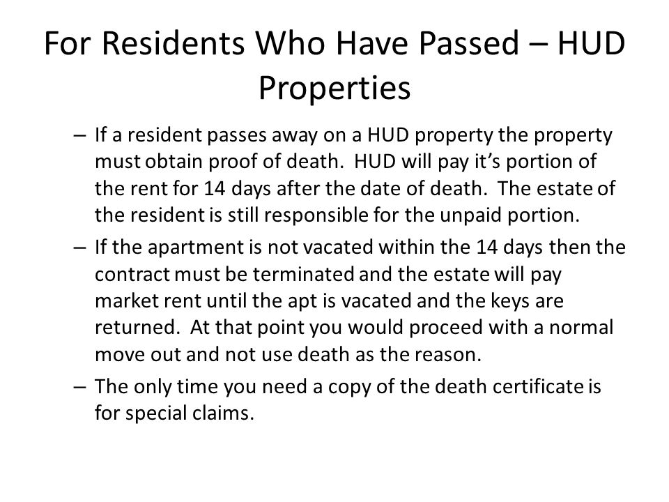 For Residents Who Have Passed – HUD Properties