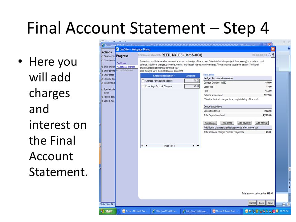 Final Account Statement – Step 4