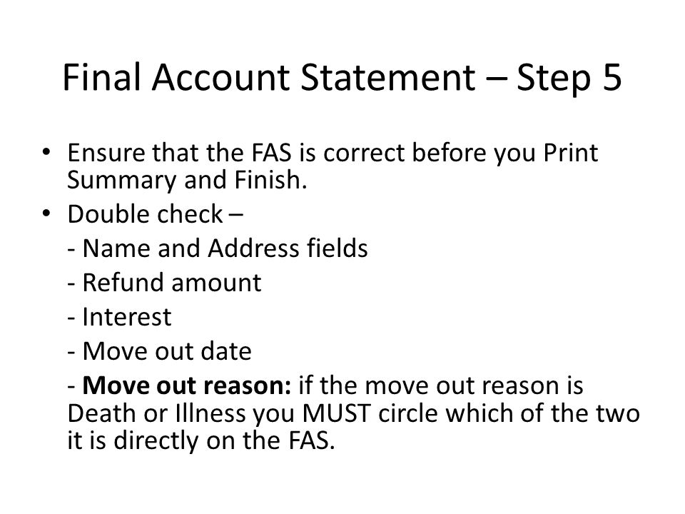 Final Account Statement – Step 5
