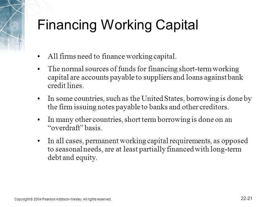 financing working capital Working capital management and financing  effect of the synergy of an effective working capital composition and financing decision on.