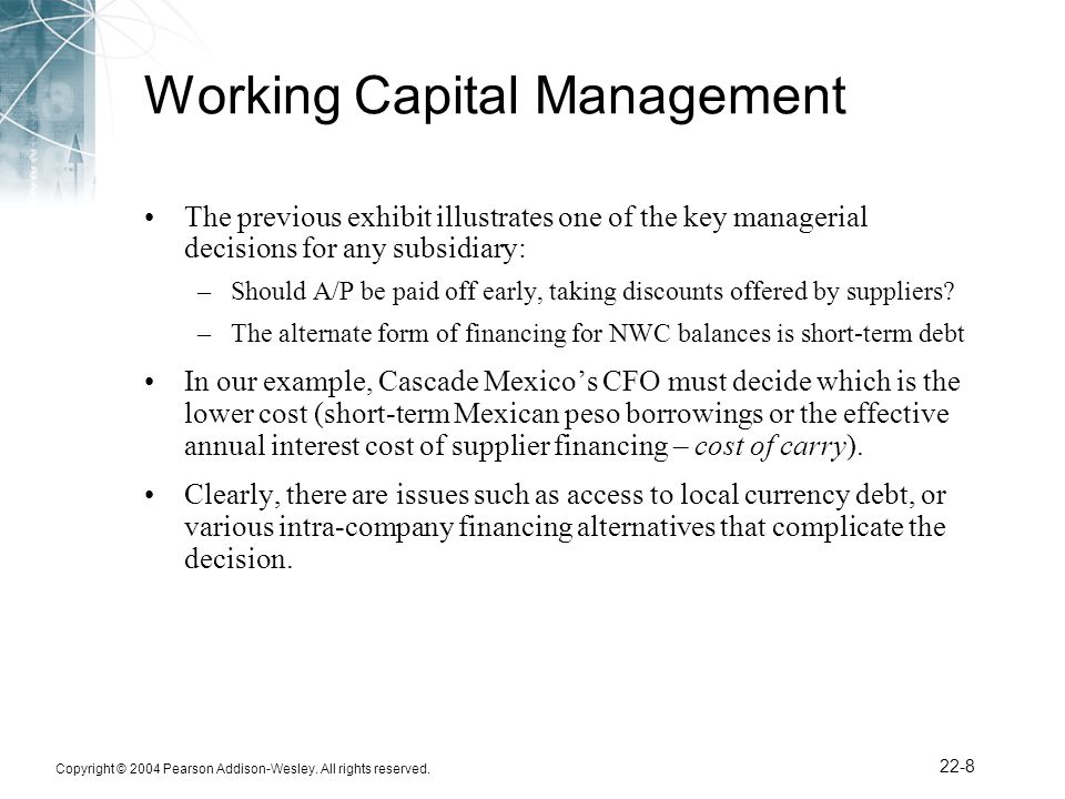 Working Capital Management (WCM)