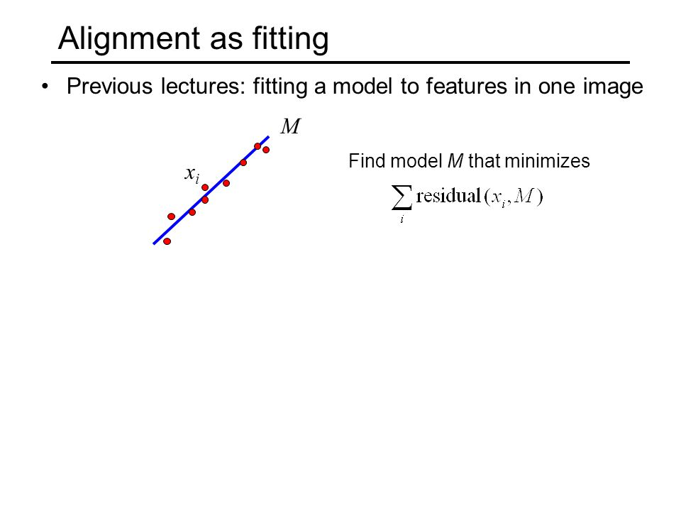 Alignment as fitting Previous lectures: fitting a model to features in one image. M. Find model M that minimizes.