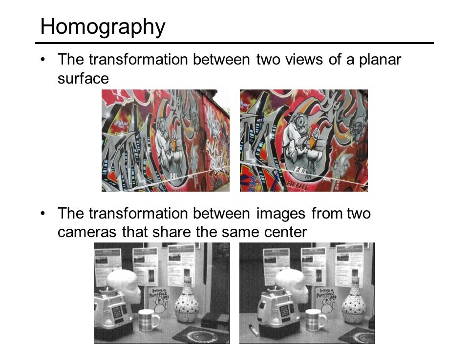 Homography The transformation between two views of a planar surface