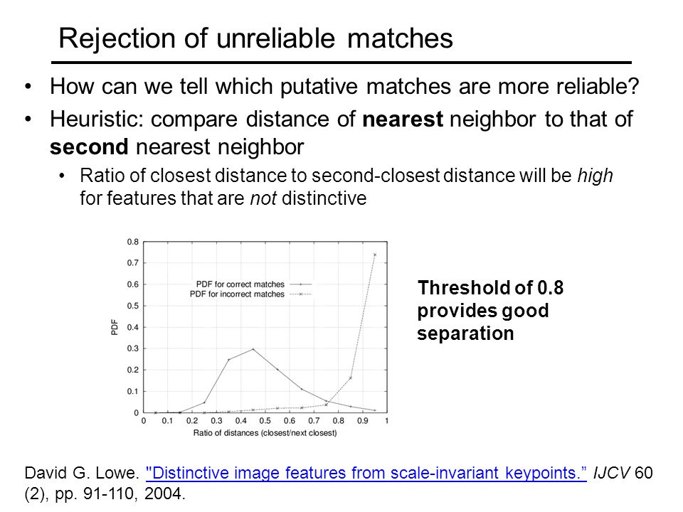 Rejection of unreliable matches