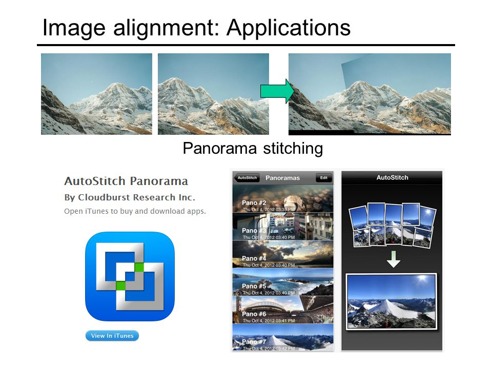 Image alignment: Applications