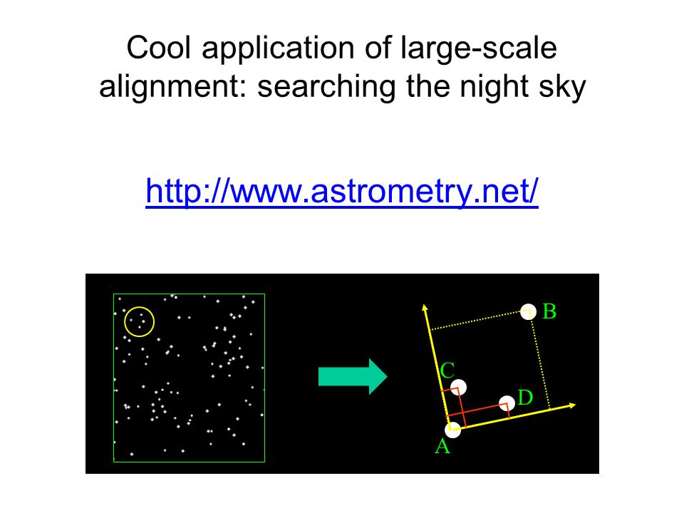 Cool application of large-scale alignment: searching the night sky