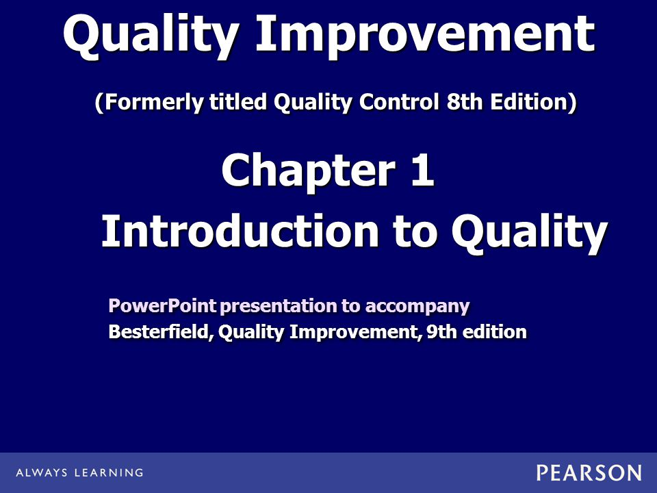 Quality Improvement Formerly Titled Quality Control 8th Edition
