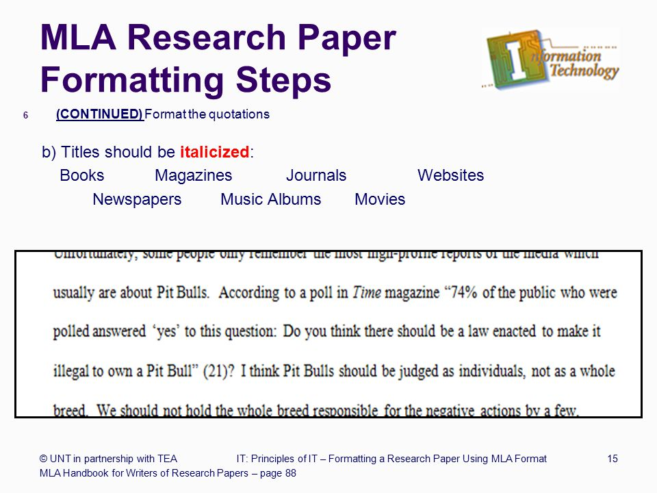 mla format research paper format Double-space the entire research paper, including quotations, notes, and the list of works cited indent the first line of a paragraph half an inch from the left margin indent set-off quotations half an inch as well (for examples, see 76–80 in the mla handbook.