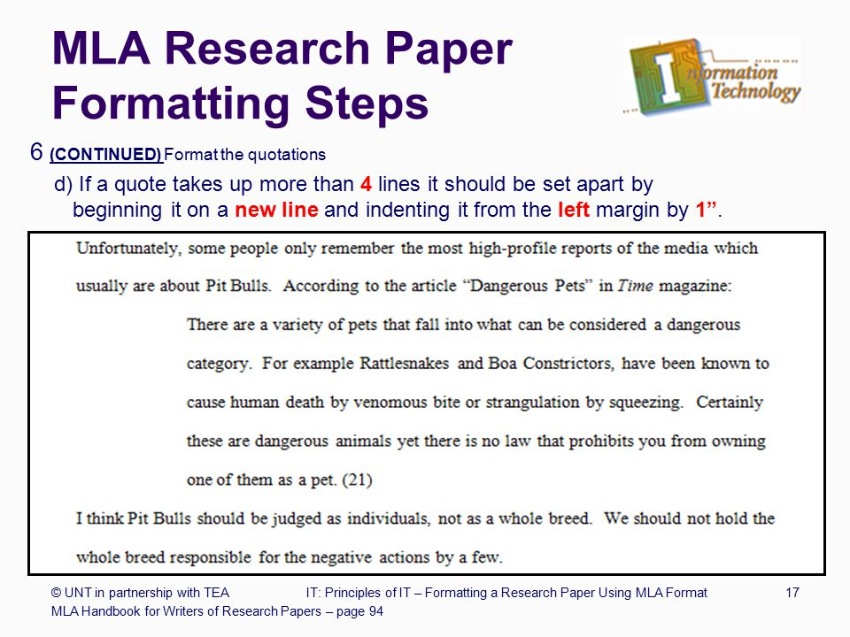 quotes in research papers mla Mla: using sources correctly there are three main ways to uses sources in your research paper you may quote you may paraphrase or you may summarize.