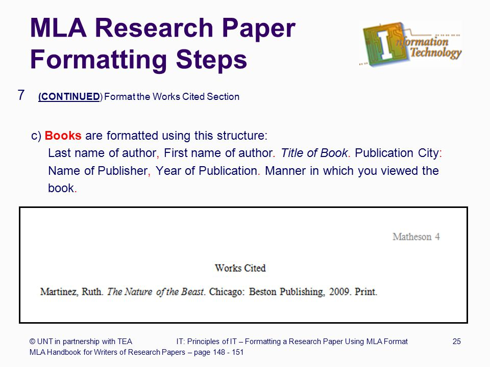 MLA Research Paper Structure