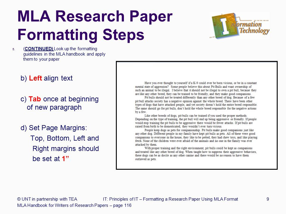 mla component demands for the purpose of researching paper
