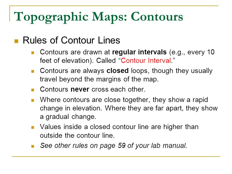 Contour Line Drawing Rules : Topographic maps lab ppt video online download