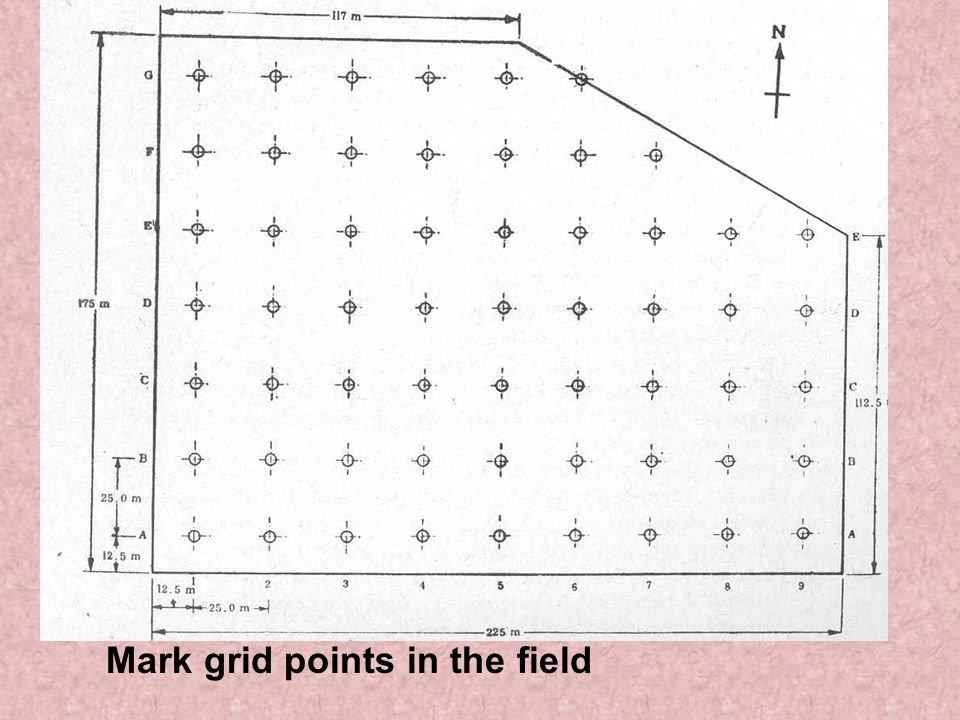 Mark grid points in the field