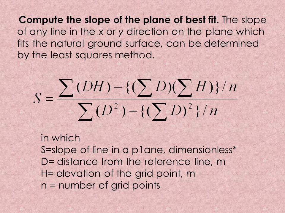 Compute the slope of the plane of best fit