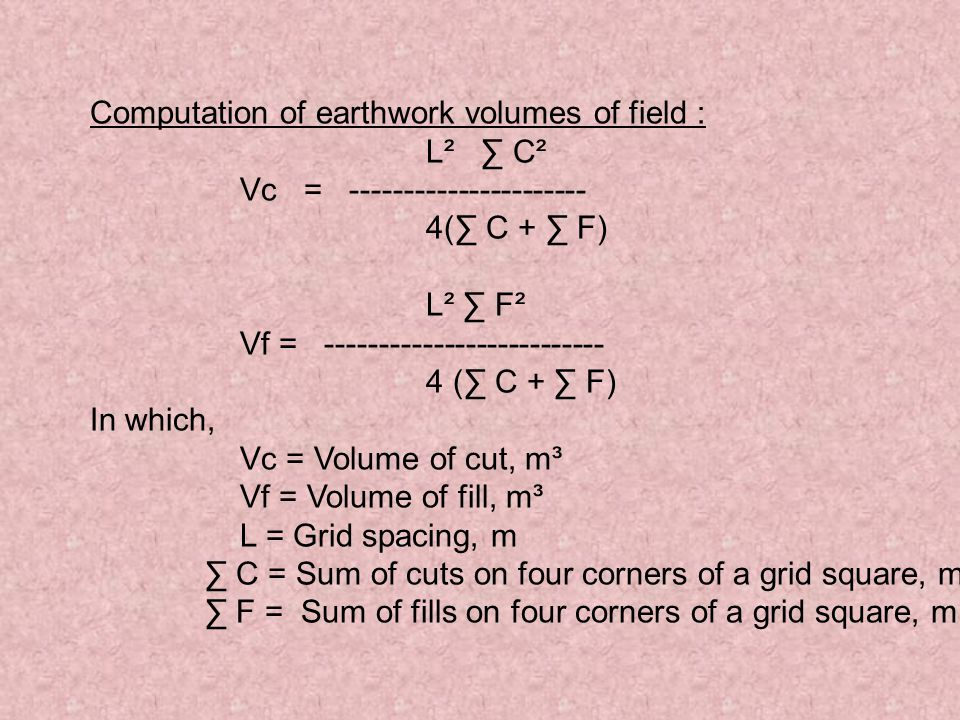 Computation of earthwork volumes of field :
