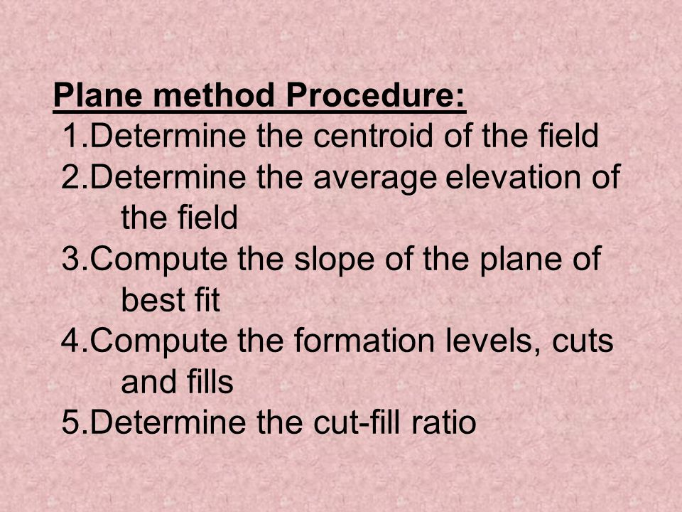 Plane method Procedure: