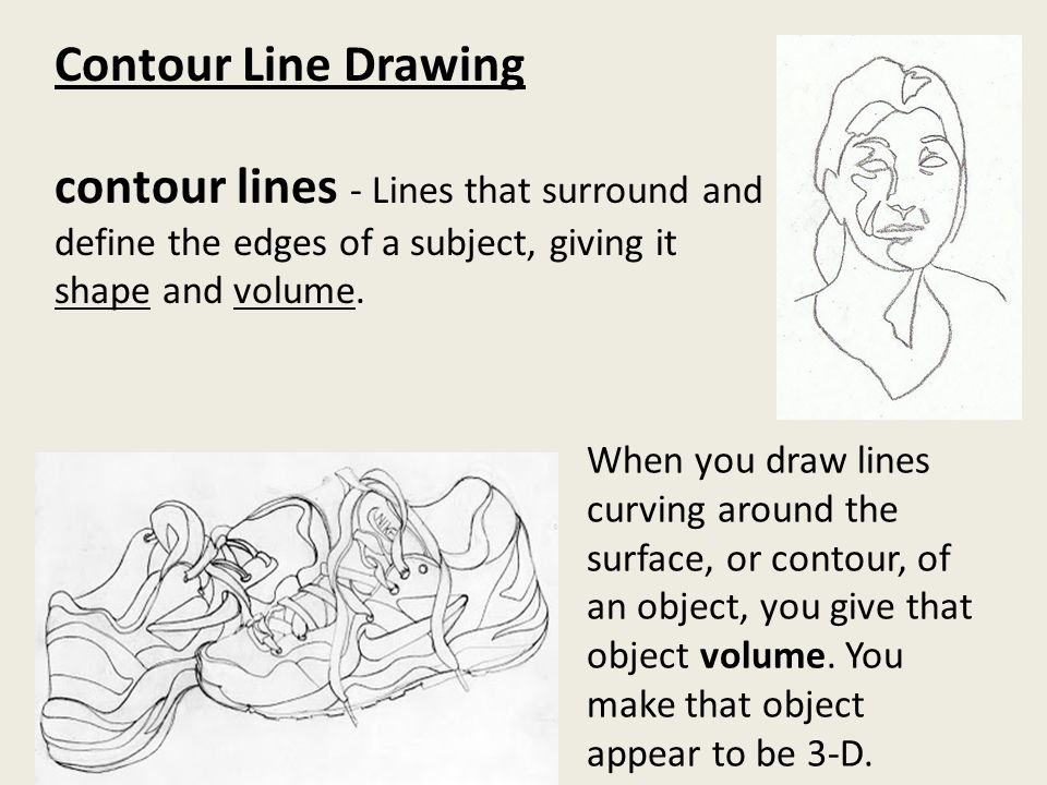 Line Art Def : Contour line drawing lines that surround