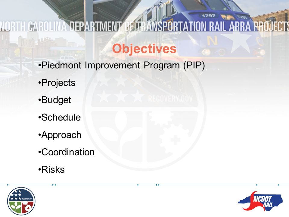 Objectives Piedmont Improvement Program (PIP) Projects Budget Schedule