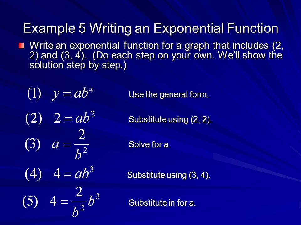 write an exponential function In this lesson you will learn how to write and graph an exponential function by examining a table that displays an exponential relationship.
