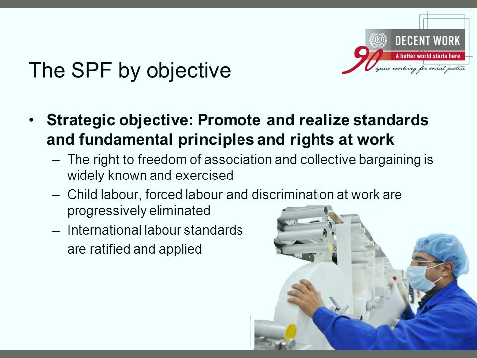 The SPF by objective Strategic objective: Promote and realize standards and fundamental principles and rights at work.