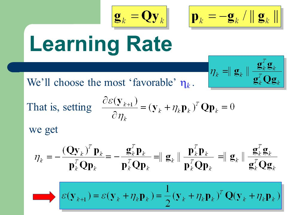 how to choose learning rate mse