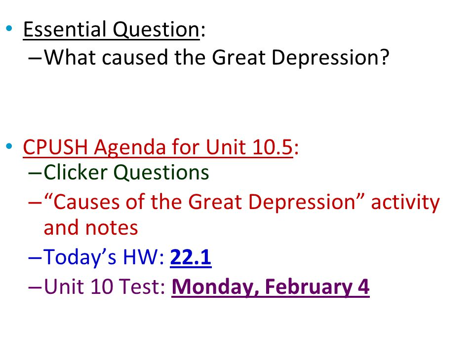 Essential Question: What caused the Great Depression? - ppt video ...