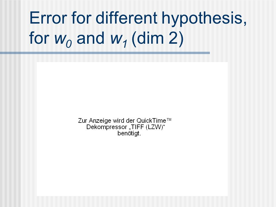 Error for different hypothesis, for w0 and w1 (dim 2)