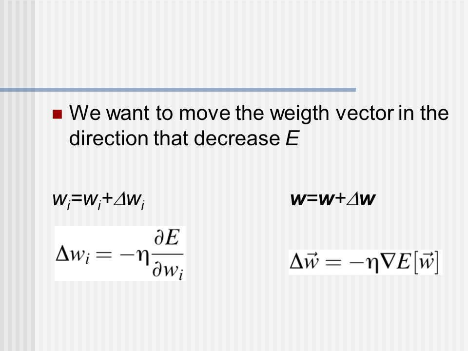 We want to move the weigth vector in the direction that decrease E